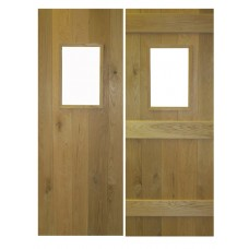 Solid Oak Ledged Rustic Door - Glass Opening Bead & Butt Joints