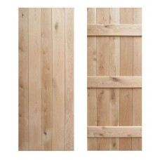 Solid Rustic Oak Cottage Ledged Door - 3 Ledge V-Groove