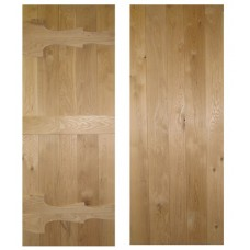 Solid Rustic Oak Cottage Ledged Door - Abbey Style V-Groove